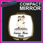 PERSONALISED WEDDING GIFT COMPACT LADIES METAL HANDBAG MIRROR